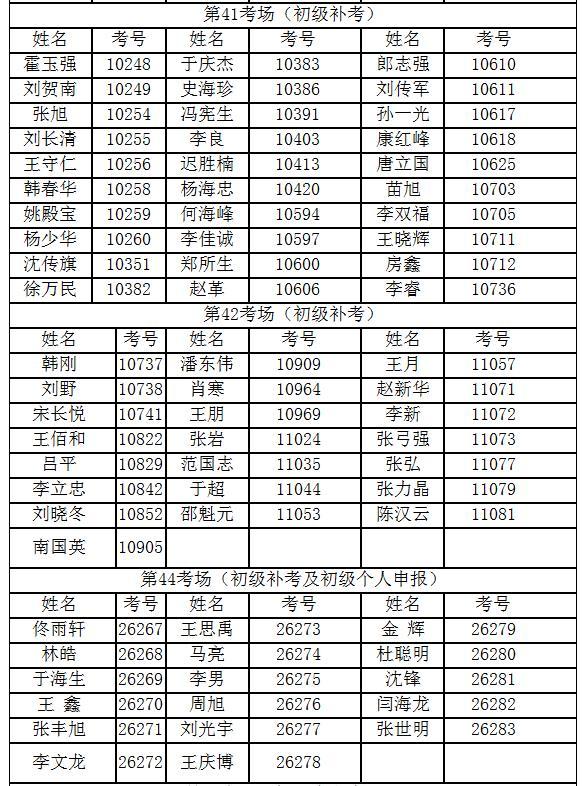 参考人员名间及考场安排8
